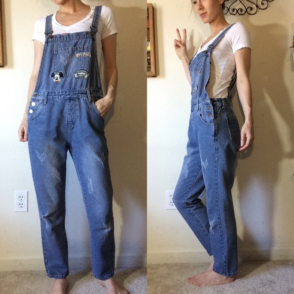 Vintage Pants - Mickey Mouse Denim Jean Overalls Vintage Patches
